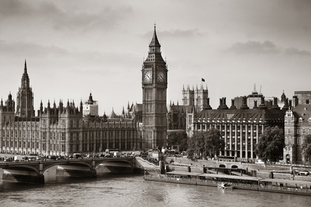 london street: London Westminster with Big Ben and bridge. Stock Photo