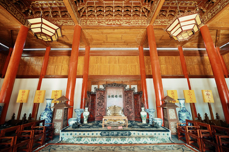 residence: Mu Family Residence building interior in Lijiang, Yunnan, China. Editorial