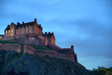 castle: Edinburgh castle as the famous city landmark. United Kingdom.