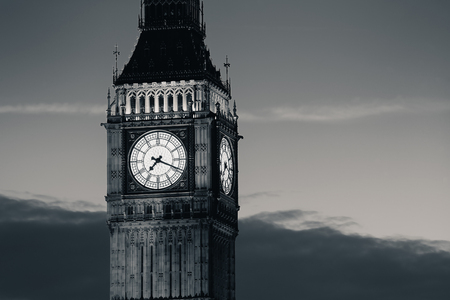 historical: Big Ben closeup in London in black and white