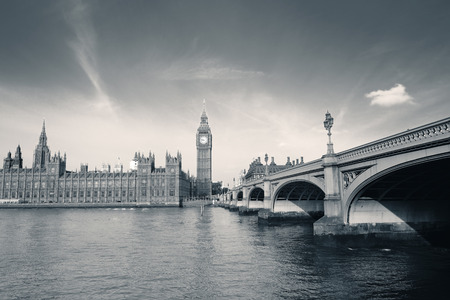 thames: Big Ben and House of Parliament in London panorama over Thames River.