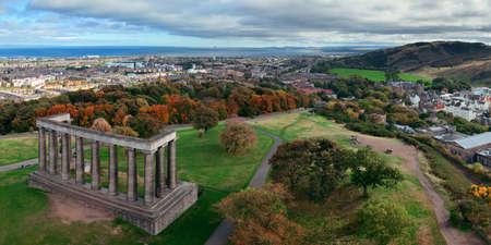 scott monument: Edinburgh city skyline panorama viewed from Calton Hill. United Kingdom. Stock Photo