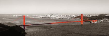 black white red: Golden Gate Bridge panorama in San Francisco as the famous landmark.