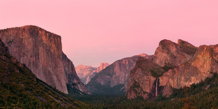 mountain sunset: Yosemite Valley at sunset with mountains and waterfalls panorama