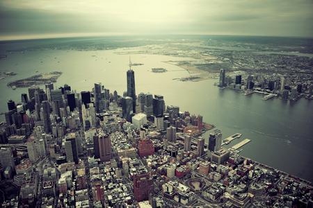ニューヨーク市マンハッタンのダウンタウン上空表示