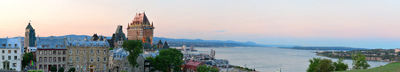 old city: Quebec City skyline panorama with Chateau Frontenac at sunset viewed from hill