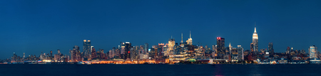 midtown: Midtown Manhattan skyline at dusk panorama over Hudson River Stock Photo
