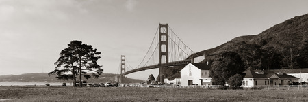 historical landmark: Golden Gate Bridge panorama in San Francisco as the famous landmark.