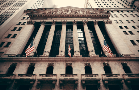 NEW YORK CITY - SEP 5: New York Stock Exchange closeup on September 5, 2014 in Manhattan, New York City. It is the world's largest stock exchange by market capitalization of its listed companies. 에디토리얼