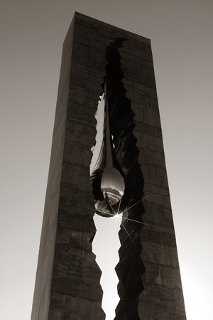 september 11: NEW JERSEY - MARCH 20: Teardrop Memorial closeup on March 20, 2014 in New Jersey. Given from Russian Government, it is the memorial to the victims of the September 11 attacks. Editorial