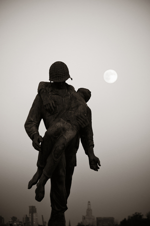 liberation: Liberation Monument in Liberty Park with full moon. Stock Photo