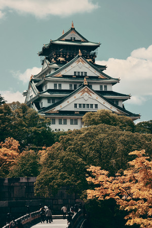 history architecture: Osaka Castle as the famous historical landmark of the city. Japan.