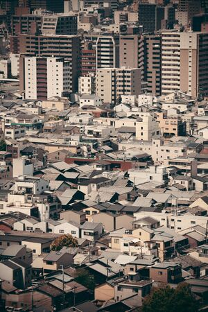 japanese people: Kyoto city rooftop view from above. Japan.