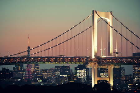 rainbow bridge: Tokyo bay with rainbow bridge and Tokyo Tower in Japan.
