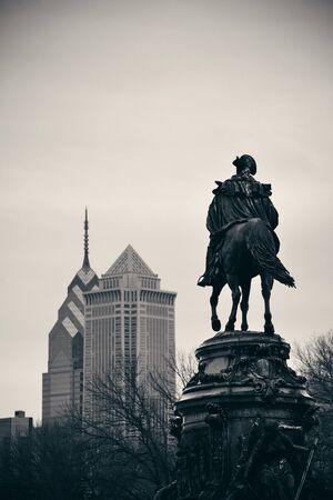 george washington: George Washington statue and Philadelphia city architecture