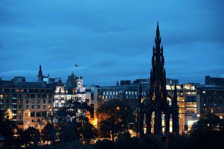 scott monument: Edinburgh city view with Scott Monument at night in UK. Stock Photo