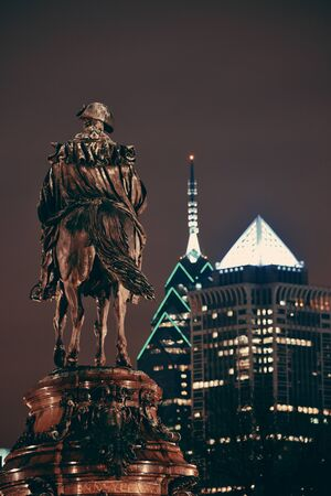 george washington statue: George Washington statue and Philadelphia city architecture at night