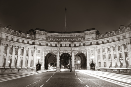 arches: Admiralty Arch near Trafalgar Square in London at night in Black and White.