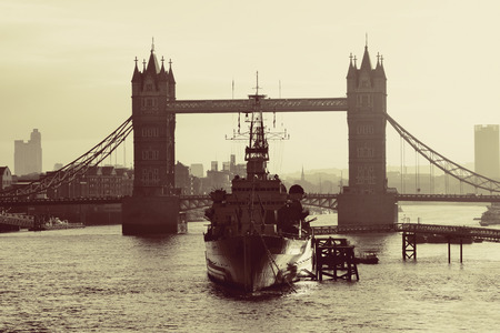 belfast: HMS Belfast warship and Tower Bridge in Thames River in London