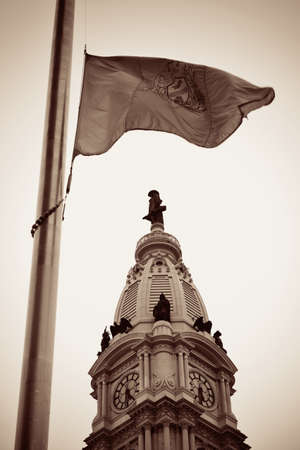 cityhall: Philadelphia flag and city Hall