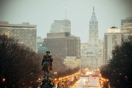 george washington: George Washington statue oand street in Philadelphia