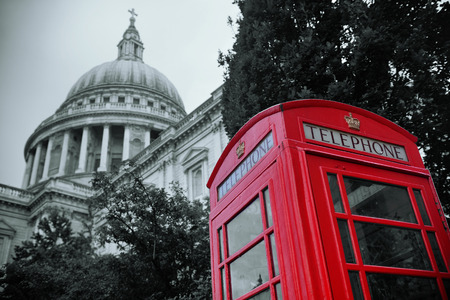 st  paul's: Red telephone booth and St Pauls Cathedral in London. Stock Photo