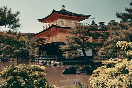 buliding: Kinkaku-ji temple with historical building in Kyoto, Japan.