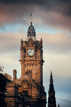 scott: Balmoral Hotel bell tower with Scott Monument and Edinburgh city view. Stock Photo