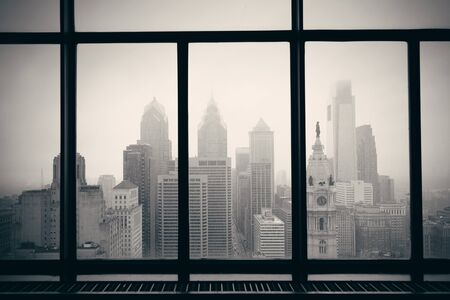 through the window: Philadelphia city rooftop view through window Stock Photo
