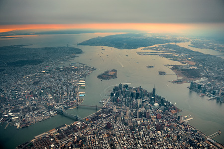 wtc: New York City Manhattan downtown aerial view