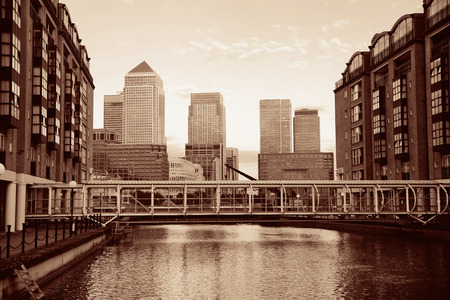 wharf: Canary Wharf business district in London black and white.