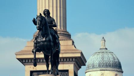 trafalgar: Trafalgar Square with Nelsons Column and statue in London