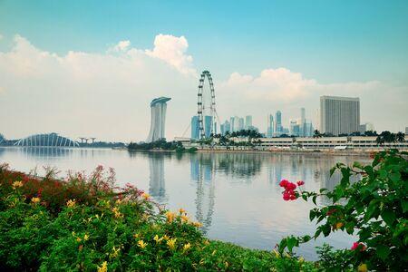 singapore building: Singapore skyline with urban buildings