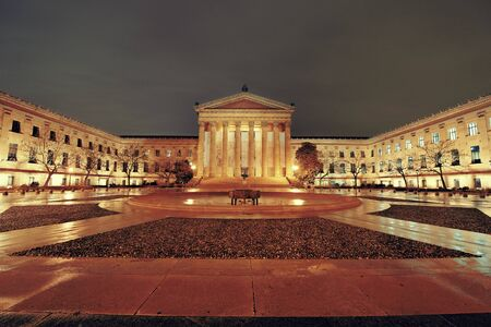art museum: Philadelphia Art Museum at night as the famous city attractions.