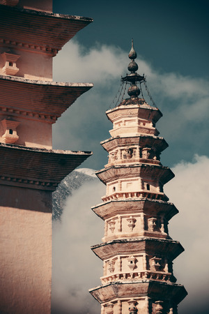 old city: Ancient pagoda closeup in Dali old town, Yunnan, China. Stock Photo
