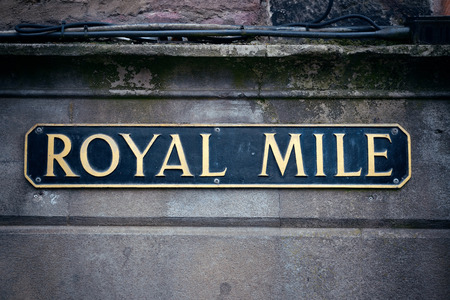 mile: Royal Mile road sign in Edinburgh. Editorial