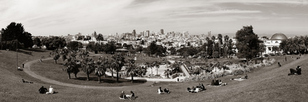 sf: San Francisco, CA - MAY 11: Mission Dolores Park panorama on May 11, 2014 in San Francisco. SF is the most densely settled large city in California and the second-most in US. Editorial