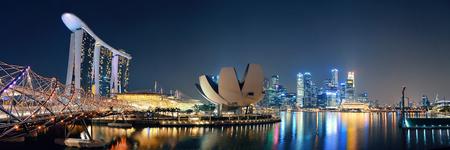 Singapore skyline at night with urban buildings Editoriali