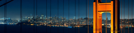 steel tower: Golden Gate Bridge in San Francisco with city skyline