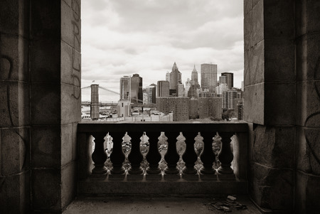 abandoned city: New York City downtown architecture skyline through abandoned balcony. Stock Photo