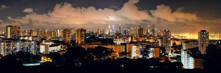 夜都市建物にフェーバーから見たシンガポールのスカイライン