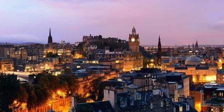 scott monument: Edinburgh city view panorama at night in UK.