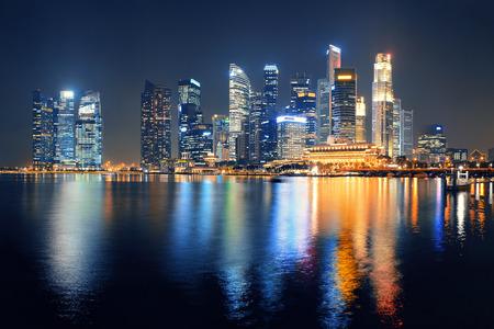 シンガポールのスカイライン都市建物との夜 写真素材 - 51282011