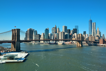 wtc: Manhattan financial district with skyscrapers and Brooklyn Bridge. Stock Photo