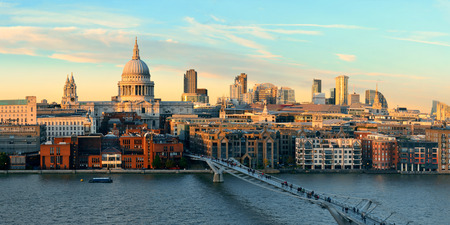 panorama city: St Pauls cathedral in London at sunset as the famous landmark.