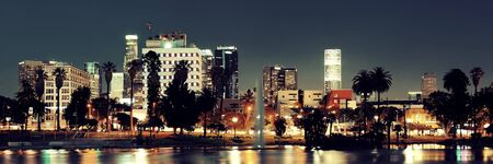 nighttime: Los Angeles downtown at night with urban buildings and lake