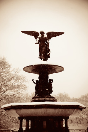 city park fountain: Central Park winter with Bethesda Fountain in midtown Manhattan New York City