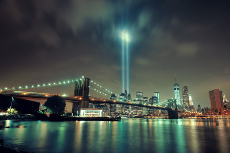 ny: New York City downtown Brooklyn Bridge and september 11 tribute at night