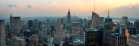 office buildings: New York City skyscrapers rooftop urban view. Stock Photo