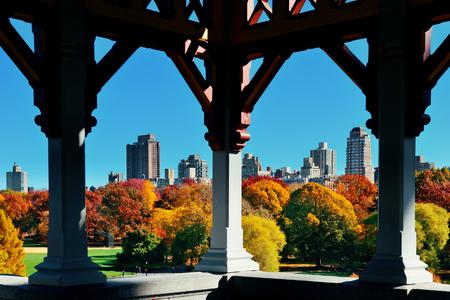 city park skyline: Central Park Autumn and midtown skyline in Manhattan New York City